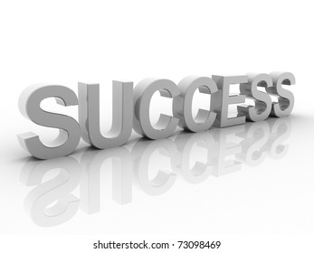 Digital illustration of success in 3d on white background