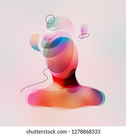 Digital illustration of surrealistic faceless man with spiritual thoughts. Made with vector vibrant color gradient geometry forms. Minimalist textured painting on mental, medical and artistic theme.