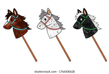 Digital illustration of three different hobby horses/ sick horses, one brown, one white with grey dotts and one black.
