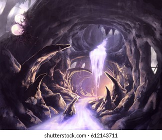 digital illustration of underground stalactites cave tunnel system with silver shining river and waterfall and inset monster eggs