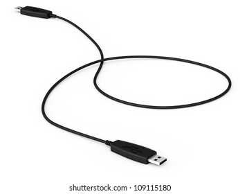 Digital illustration of USB data cable in white background/ USB Data Cable