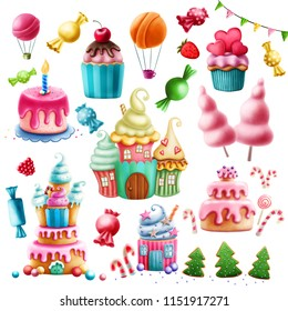 Digital illustration of various sweets. Clip Art.