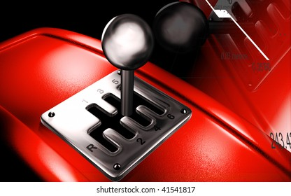 Digital illustration of a vehicle gear lever movement in colour background