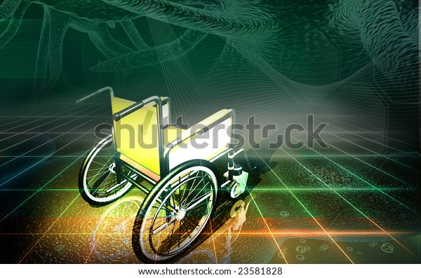Digital illustration of wheel chair