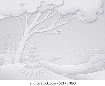 digital illustration winter forest background white christmas nature paper cut quilling