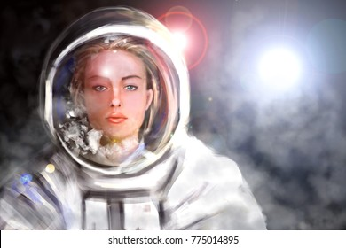 Digital illustration of woman astronaut. Female cosmonaut in outer space. Concept background.
