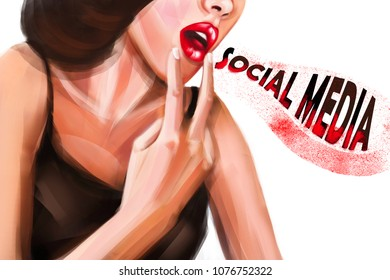 Digital illustration of woman with two fingers near her mouth ready to throw up. Person overstocked by social media.  Creative concept design.