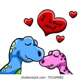 Digital illustrations of dinosaurs in love