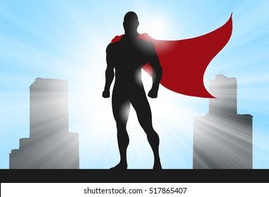 Digital Ilustration of a superhero silhouette in heroic pose.