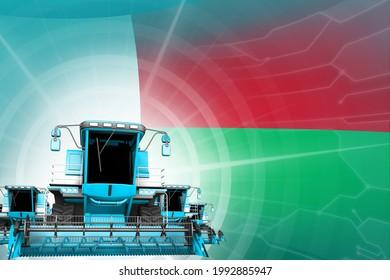Digital industrial 3D illustration of 3 blue modern rye combine harvesters on Madagascar flag, farming equipment modernisation concept