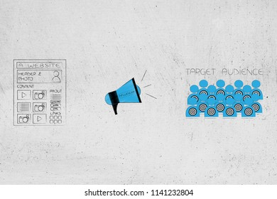 digital influencer marketing conceptual illustration: website next to megaphone and target audience