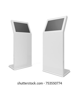 Digital interactive kiosk. 3d illustration isolated on white background