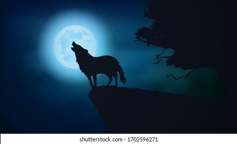 Digital landscape illustration art. An wolf howling in the wild, big moon and sky is background. horror, scary, halloween, animal, creepy concept.
