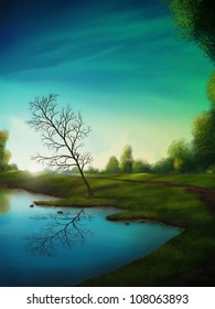 digital landscape painting of a tree reflected in a calm lake below a surreal cloudy sky
