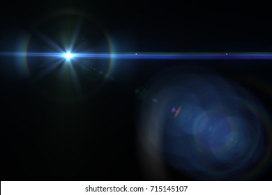 digital lens flare in black bacgrounds Abstract horizontal frame