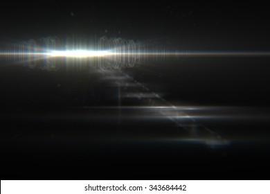 digital lens flare in black background horizontal frame warm