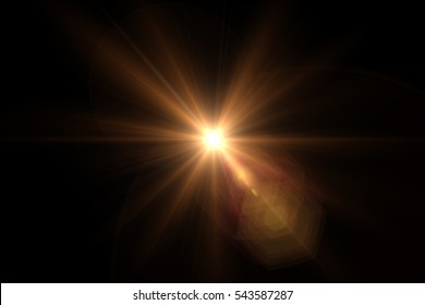 digital lens flare in black background.Beautiful rays of light.