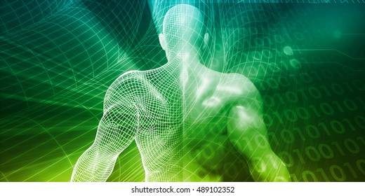 Digital Lifestyle and Futuristic Man Using Technology 3D Illustration
