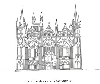 A digital line drawing of Peterborough Cathedral, Cambridgeshire, UK