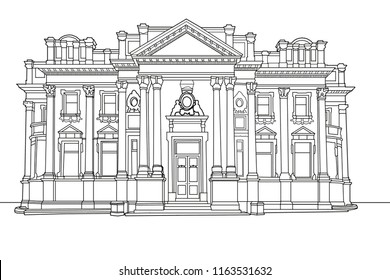 A digital line drawing of a Victorian commercial building, Halifax, West Yorkshire, UK