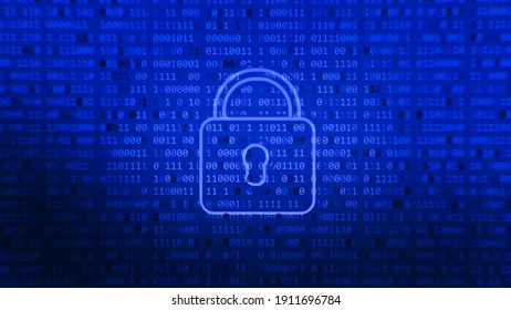Digital lock guard sign binary code number. Blue glowing abstract background. Big data personal information safety technology closed padlock.
