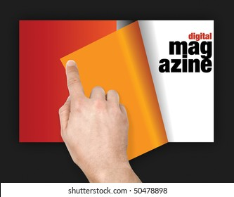 digital magazine viewed using touch screen and finger