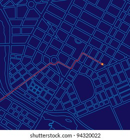 Digital map tracking traveler with GPS through generic urban city