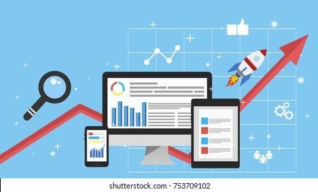 Digital marketing, analysis, flat banner concept