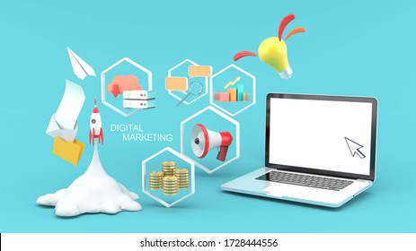 Digital marketing concept for banner. design with laptop , rocket , chart , money ,promotion and idea on a blue background.-3d rendering.