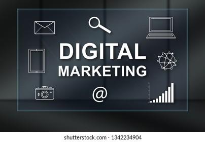 Digital marketing concept on dark background