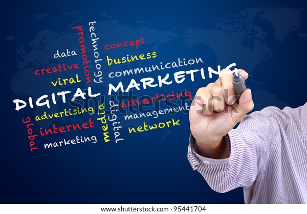 Digital marketing concept and other related words,hand drawn on white board