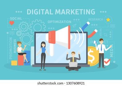 Digital marketing concept. People making advertising on social media.