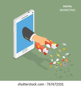 Digital marketing flat isometric low poly concept. Hand have appeared from the smarthphone holding a magnet that attracting promotion symbols like hearts, likes, emails stars, text bubbles