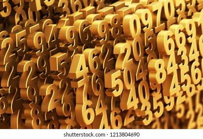 Digital Matrix From Golden Numbers. 3D Illustration.