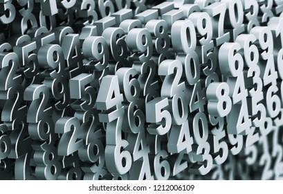 Digital Matrix From Metal Numbers. 3D Illustration.