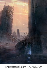 Digital matte painting of destroyed building in abandon city with animal deer at dusk dawn