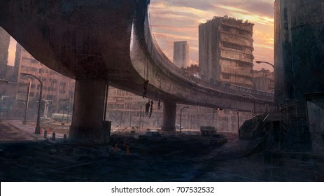 Digital matte painting of environment scene in old city with cartel corpses under the bridge