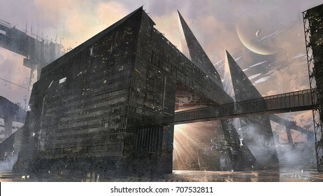 Digital matte painting of science fiction building in cube shape