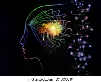 Digital Mind series. Design made of silhouette of human face and technology symbols to serve as backdrop for projects related to computer science, artificial intelligence and communications