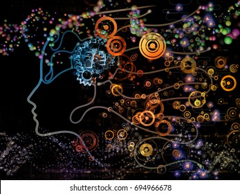 Digital Mind series. Visually attractive backdrop made of silhouette of human face and technology symbols suitable in layouts on computer science, artificial intelligence and communications