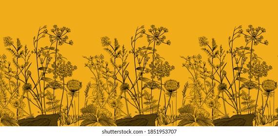 Digital mughal Plants for Textile Print Manually Illustrated Artwork