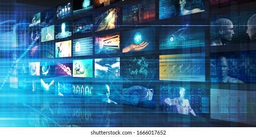Digital Multimedia Entertainment and Internet Business Concept 3d Render