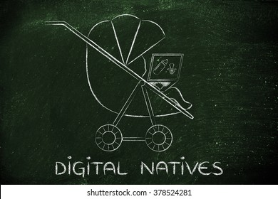 Digital Natives: young child in a stroller holding laptop with dummy & bottle on the screen