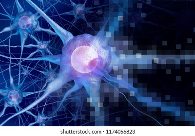 Digital neurology brain intelligence concept as artificial intelligence or virtual reality technology as a 3D rendering.