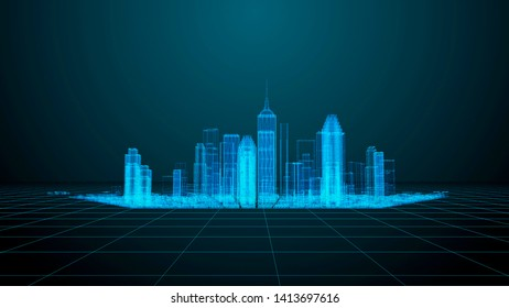 Digital Night City ,Digital concept. Technology and communication theme. Modern city wireframe render