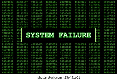 Digital numbers in the background with System Failure written in large letters representing what this error message would look like on a computer screen