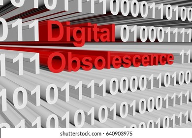 Digital obsolescence in the form of binary code, 3D illustration