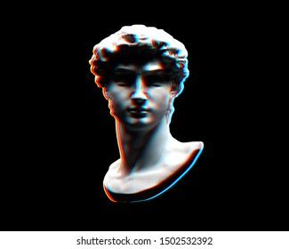 Digital offset CMYK illustration of classical head bust of sculpture from 3D rendering in the style of modern graphics isolated on black background.
