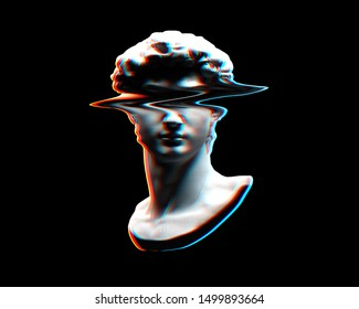 Digital offset CMYK illustration of glitched head bust sculpture from 3D rendering in the style of modern graphics isolated on black background.