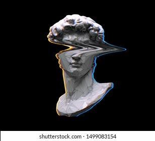 Digital offset CMYK illustration of polygonal mesh glitched eyes head bust sculpture from 3D rendering in the style of modern graphics isolated on black background.